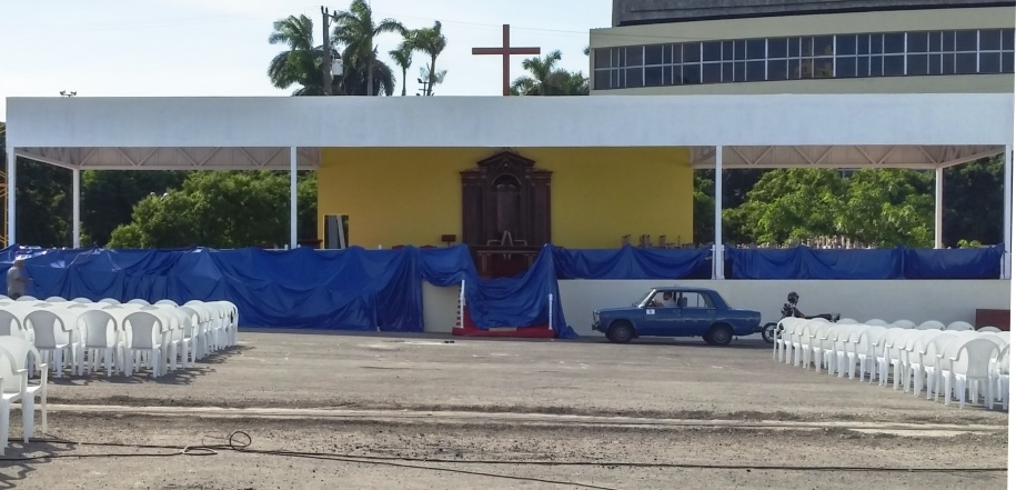 Altar being prepared for papal visit