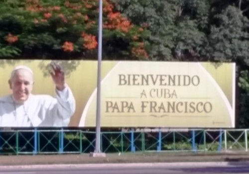 Pope welcome billboard photo by Jenifer Joy Madden