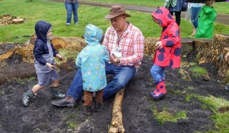 Adam Bienenstock in pop-up nature playground