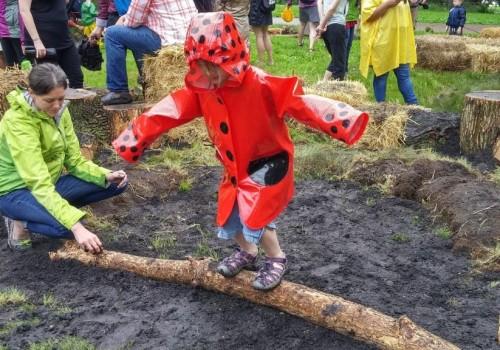 Girl balances in pop-up park
