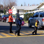Crossing guard and kids