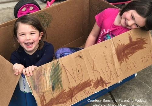 Two sisters have fun in a big cardboard box