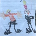 CHild's drawing of her mother and Queen Elizabeth