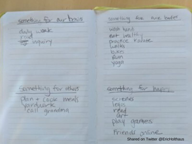 Child's daily  plan written in a journal