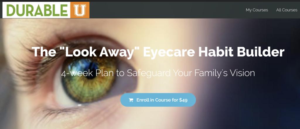 "Screen Shot of ""Look Away"" Eyecare Habit Builder sales page"